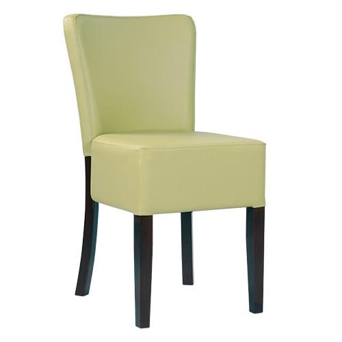 Chaise rembourrée TANJA - noyer foncé - vert clair