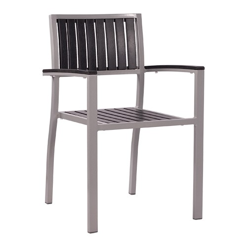Chaise de terrasse avec accoudoirs TIMOR anthracite - empilable