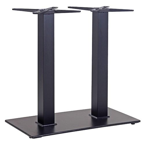 Tischgestell schwarz Stahl mit Doppelsäule für große Tischplatten