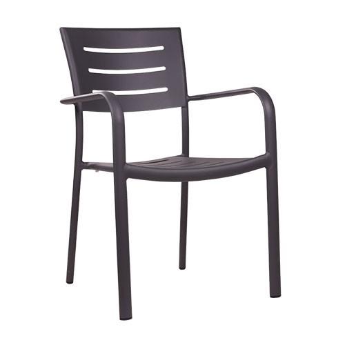 Chaise de terrrasse BARIO anthracite - empilable