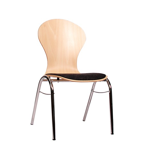 Holzschalenstuhl / Stapelstuhl COMBISIT B10 mit Sitzpolster, Uni-Stoff dunkelgrau