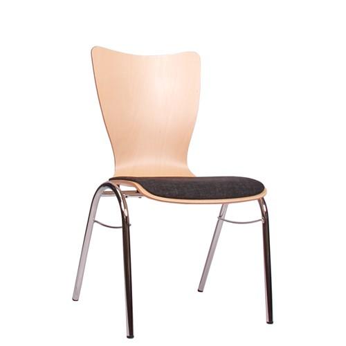 Holzschalenstuhl / Stapelstuhl COMBISIT B30 mit Sitzpolster, Uni-Stoff dunkelgrau