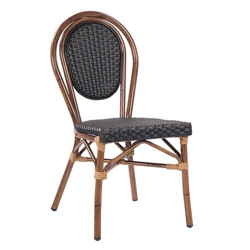 Chaise de terrasse BAMBU noir - empilable