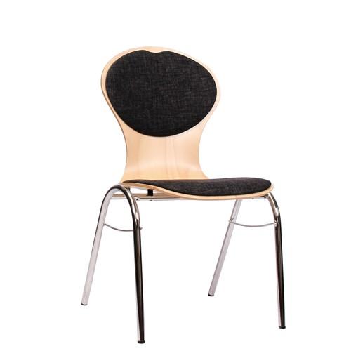 Holzschalenstuhl / Stapelstuhl COMBISIT B10 mit Sitz- und Rückenpolster, Uni-Stoff dunkelgrau
