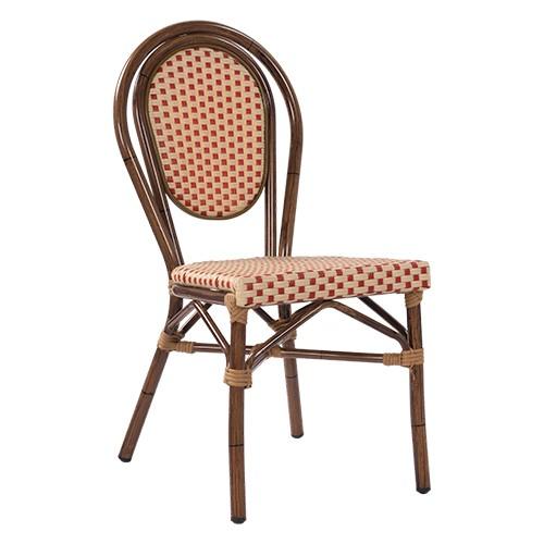 Chaise terrasse bistro BAMBU - beige-rouge
