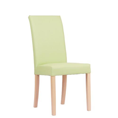 Chaise rembourrée FALCO - hêtre naturel - cuir synthétique vert clair