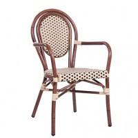 Chaise de terrasse avec accoudoirs BAMBU AL - beige / marron