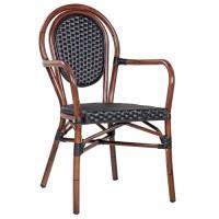 Chaise de terrasse avec accoudoirs BAMBU AL - Noir