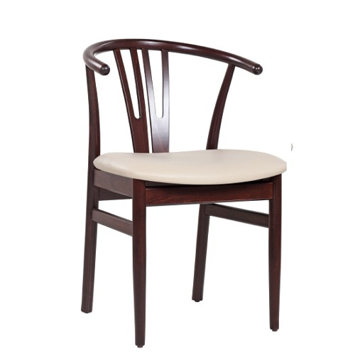 Restaurantstuhl mit gebogener Rückenlehne