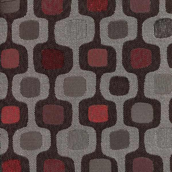 Tissu rétro DRO33 gris / rouge