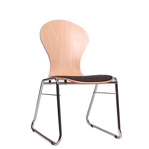 Holzschalenstuhl / Stapelstuhl COMBISIT C10 mit Sitzpolster, Uni-Stoff dunkelgrau