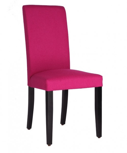 Chaise rembourrée THEA - tissu laine magenta