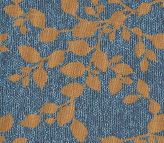 Tissu motifs feuilles AQC2164 bleu-bronze