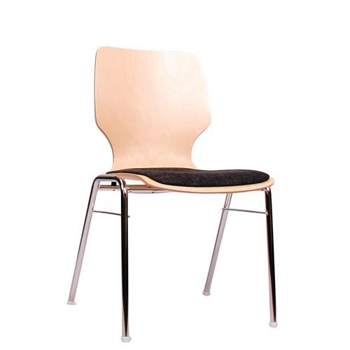 Holzschalenstuhl / Stapelstuhl COMBISIT A20 mit Sitzpolster, Uni-Stoff dunkelgrau