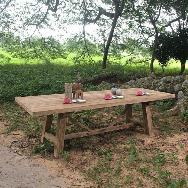 Table en bois massif LUIS - Bois de teck recyclé